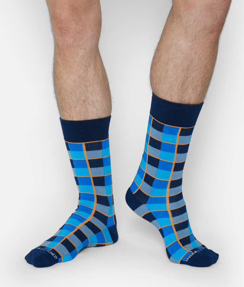 Unsimply Stitched Checker Grid Sock